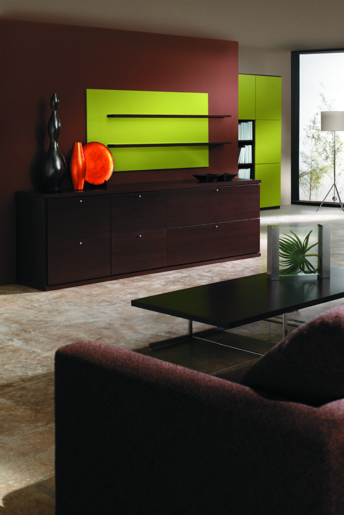 Muebles salón color wengué con lacado texturado color verde